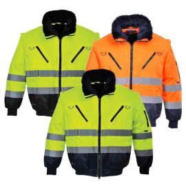 Pilóta kabát, szőrme és vattabélés (citrom és szürke betétes)